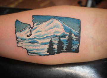tattos of Washington state | Tattoo of the state of Washington with Mount Rainier and douglas fir ...