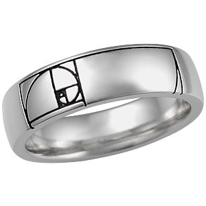 Fibonacci Golden Ratio Wedding Band - This wedding band depicts a spiral representing the Golden Ratio in mathematics. This ratio appears in natural objects from seashells to flowers, and is emblematic of perfection.