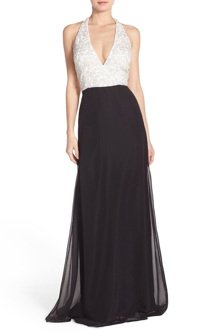 From Nordstrom: Aidan Mattox Colorblock Georgette Gown (wish the top wasn't white)