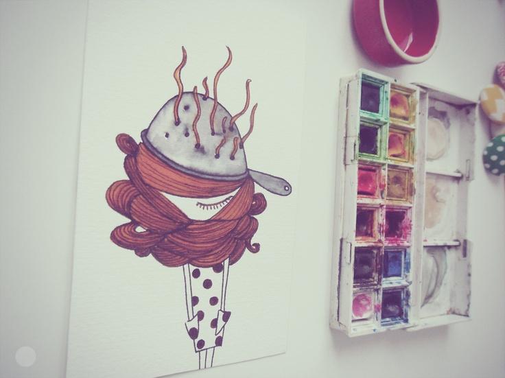 "Nina ""Capelli loro single""  Original Ink and Water Color. Illustration by Eva Escoms Estarlich"