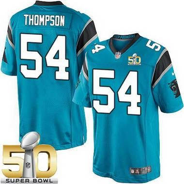 Men's Carolina Panthers #54 Shaq Thompson Blue Alternate 2016 Super Bowl 50th Patch Bound Game Jersey