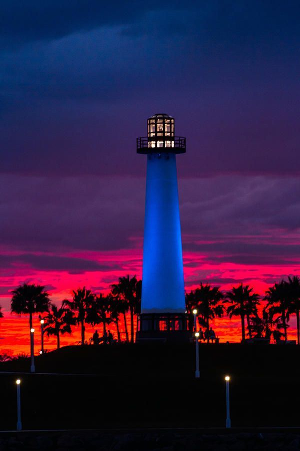 Light House In The Firey Sky - Long Beach - California - USA