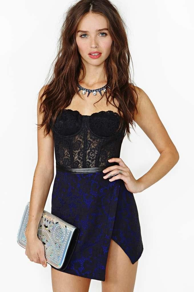 Nasty Gal Midnight Bloom Lace Skirt