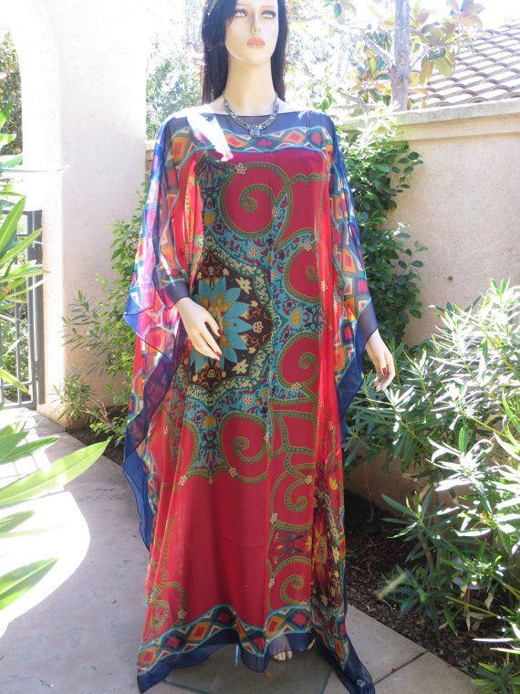 Stunning Fuschia Silk Blend Caftan, Womens Kaftans, Beach Caftan, Beach Dress, Plus Size, Resort Wear, Beach Coverup