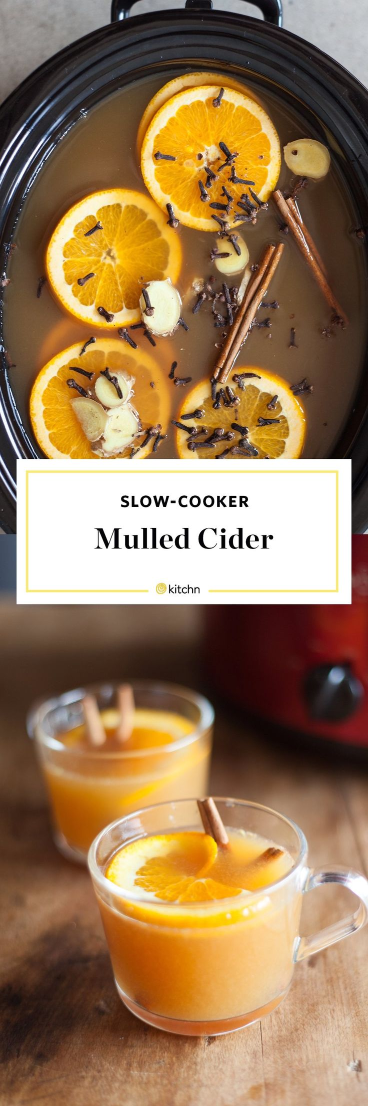 Slow Cooker Mulled Cider Recipe. There's nothing like a warm drink during the weeks of cold weather ahead! This big-batch, cozy nonalcoholic mocktail is great for Halloween, Thanksgiving, or Christmas, and it's SO EASY to make for a crowd in your crockpot or slow cooker! Try with bourbon, dark rum, or brandy