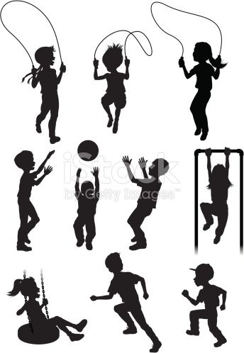 Vector illustration of silhouettes of children at play.