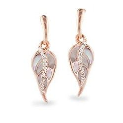 Rose Gold Maile Leaf Earrings with Pink Mother of Pearl and Diamonds