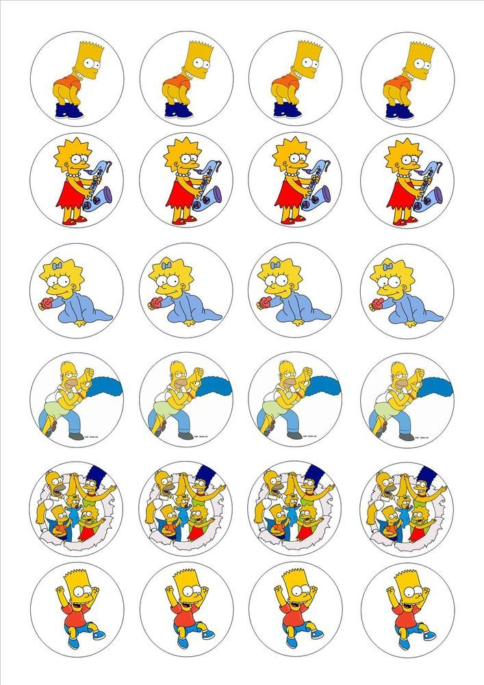 24 icing cake toppers decorations The Simpsons Bart Maggie Lisa Marge Homer in Crafts, Cake Decorating | eBay