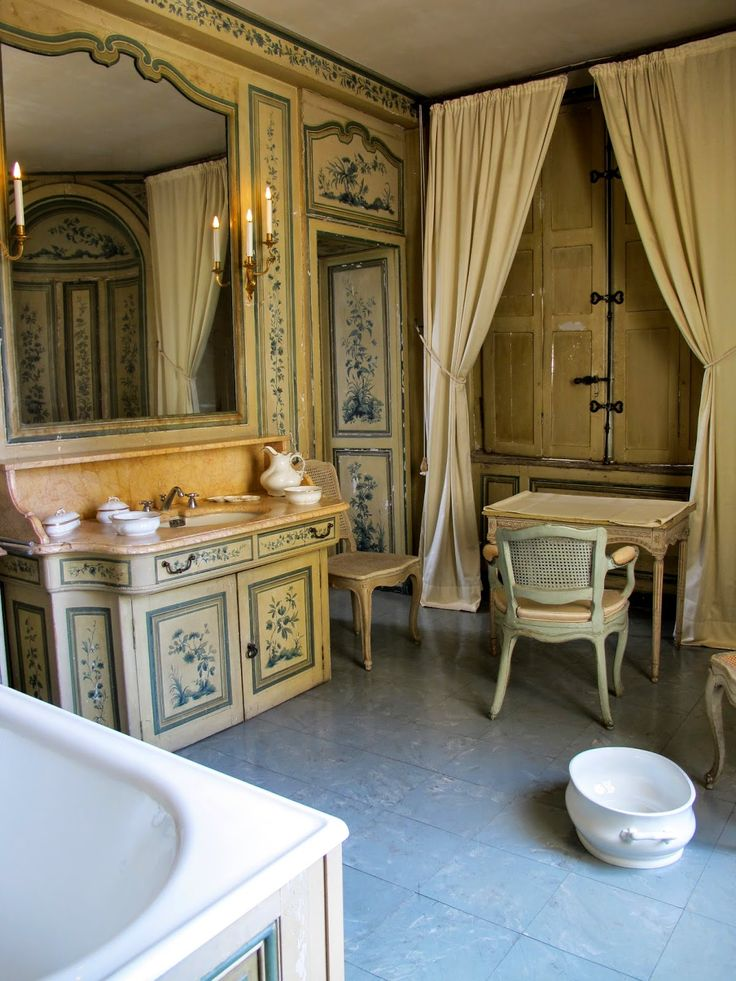 bathroom in french chateau baths and powder rooms pinterest french french chateau and. Black Bedroom Furniture Sets. Home Design Ideas