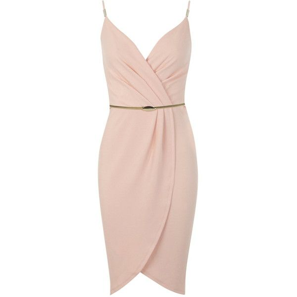 Miss Selfridge Coral Wrap Pencil Dress ($35) ❤ liked on Polyvore featuring dresses, vestidos, short dresses, coral, cami dress, pencil dress, pink cocktail dress and wrap dress