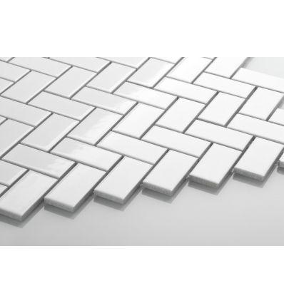 Jodełka biała, szkliwiona - Płytki ceramiczne - Sklep z płytkami Mozaikowe.pl