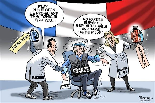Paresh Nath - The Khaleej Times, UAE - French poll campaign - English - France, French poll, French Presidency, Macron, globalisation, pro-EU, open society, liberalism,  Marine Le Pen, populist, far right, nationalism, poll campaign
