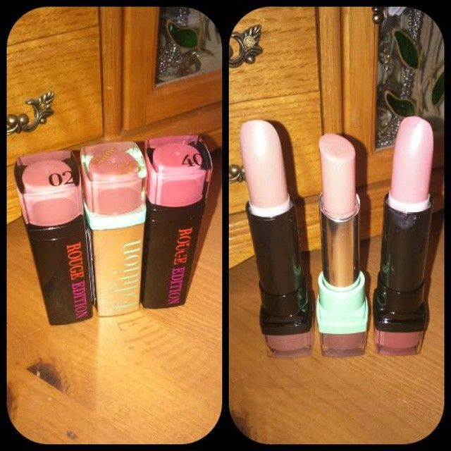 """""""Bourjois lipstick brought £7.99 each from boots From right to left 40 rose incognito by bourjois rouge edition 26 beige democrachic by bourjois shine…"""""""