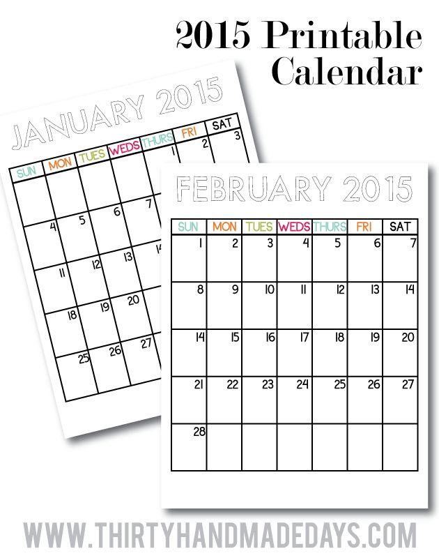 Updated Printable Calendars to coordinate with binders from thirtyhandmadedays.com