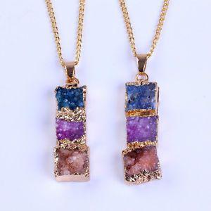 24k gold plated blue pink combination brown druzy drusy quartz necklace unisex