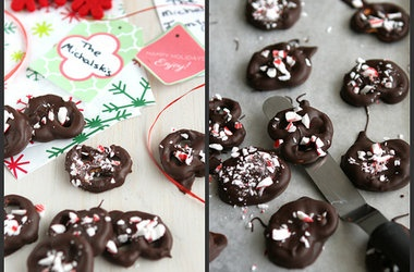 Chocolate Covered Pretzels with Crushed Candy Canes — Punchfork