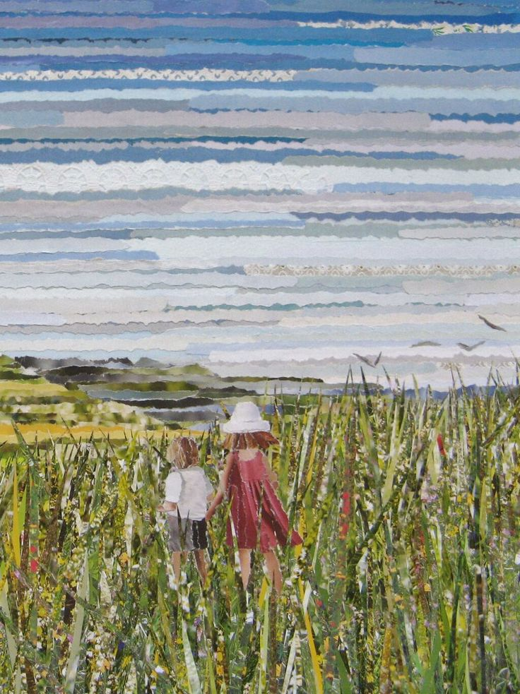 """Artist Kirsty McNay's """"Nostalgic Summer""""  recycled torn paper cut painting"""