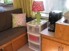 Super Cute ideas. Re-doing a pop-up camper - def need a few sets of drawers like that!!