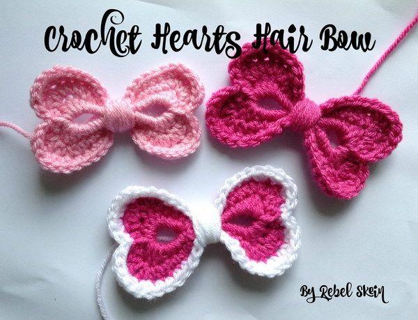 Crochet Hearts Hair Bow Free Pattern.                              …