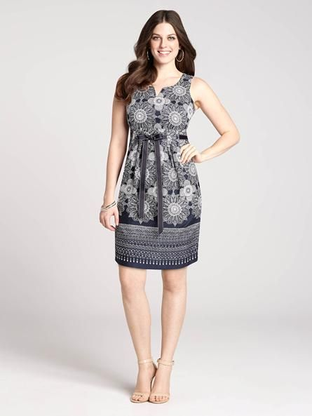"""Laura Petites: for women 5'4"""" and under. With a chic pull-thru ribbon at the waist that lets you flaunt your figure, this gorgeous dress will help your Spring style flourish! It also features a floral and medallion print, letting you embrac...4010101-0452"""