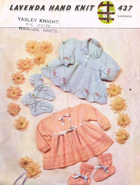 Lavenda 437 baby matinee coat and bootees set vintage knitting pattern PDF instant download