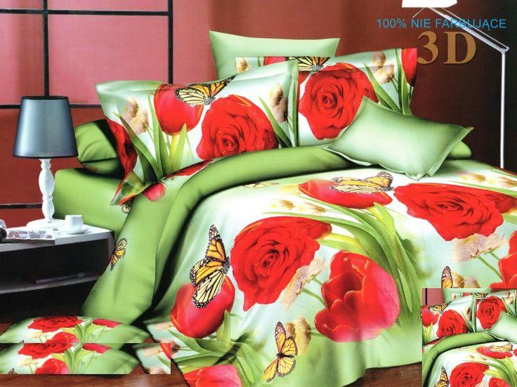 Pościel na łóżko w kolorze zielonym w czerwone tulipany
