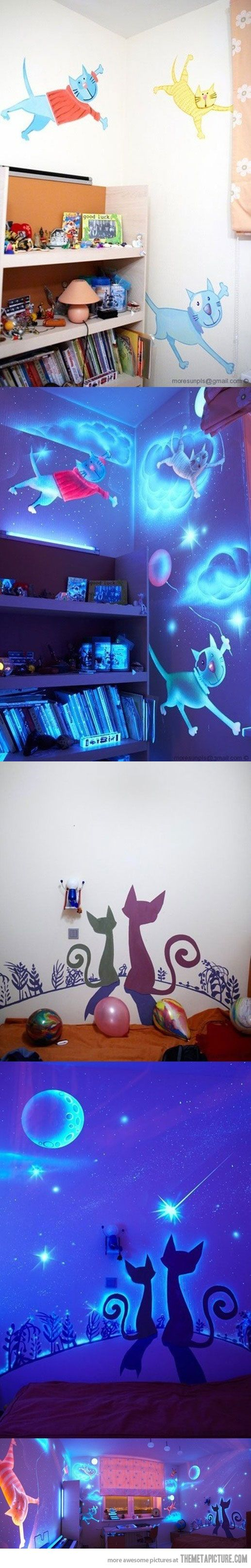 Glow in the dark paint! Wish I had this when I was younger.: Kids Bedrooms, Night Lights, Boys Rooms, Child Rooms, Future Kids, Black Lights, Child Bedrooms, Dark Wall, Kids Rooms