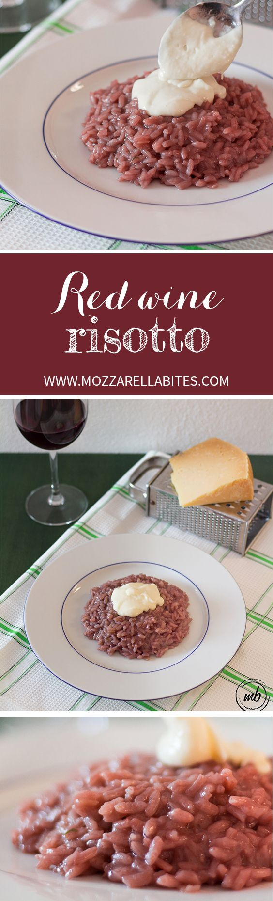 Try this red wine risotto with a gorgeous pecorino cheese cream!  Ingredients: Rice, 180gr. (I used Carnaroli rice) Red wine, 2 cups (2 glasses) Onion, 1 small Extravirgin olive oil, 2 tbsp Vegetable stock, 3 to 4 cups.