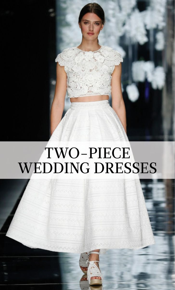 10 Two-Piece Wedding Dresses | Martha Stewart Weddings - The two-piece wedding dress is perfect for brides looking to break tradition. After all, isn't two better than one—especially when it comes to your wedding day? From cropped tops to chic overlays, take inspiration from these twice-as-nice wedding-dress separates.