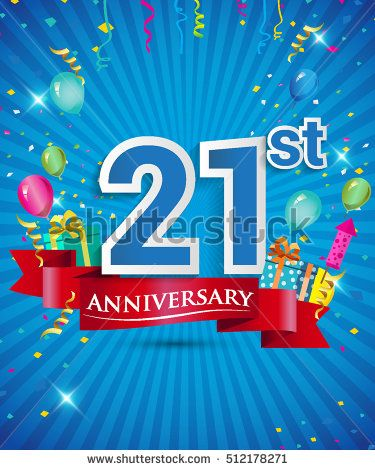 Celebrating 21 years Anniversary logo, with confetti and balloons, red ribbon, Colorful Vector design template elements for your invitation card, flyer, banner and poster.