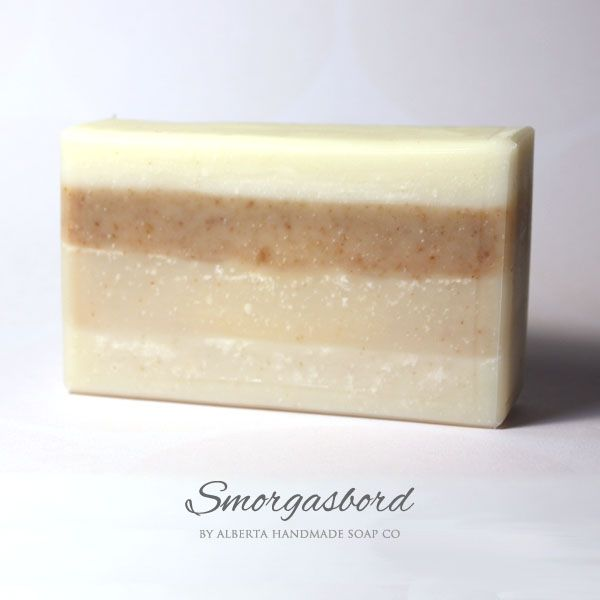 Smorgasbord #HandmadeSoap During the creation of our new premium unscented soaps, we made extra of each and put them all into this new smorgasbord soap! This is very limited edition, only 7 bars were made and it won't come back unless we make all 4 of those soaps at the same time again! #SkinCare #AlbertaHandmadeSoapCo