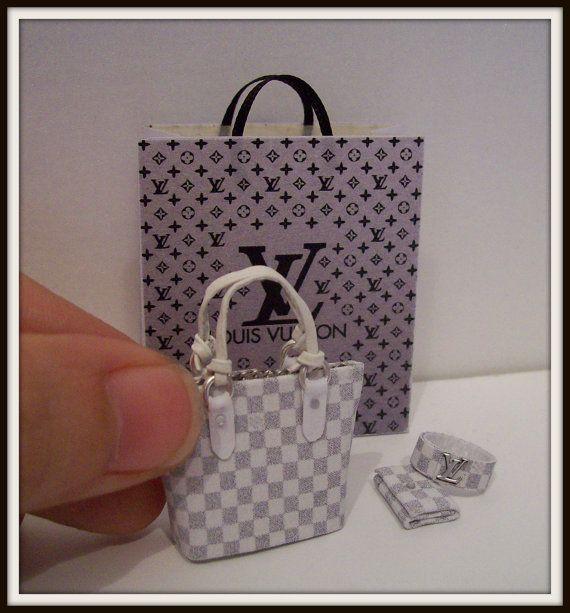 Dollhouse Miniature Louis Vuitton Purple Shopping Bag, Hand Bag, Wallet & Bracelet - 1:12 scale. (4 Pcs)