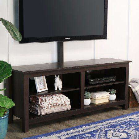 Wood Corner TV Stand with Mount for TVs up to 60 inch, Multiple Colors, Brown