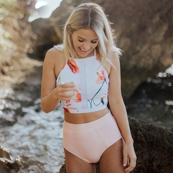 Vintage Beach Exotic High Neck Swimsuit Sets