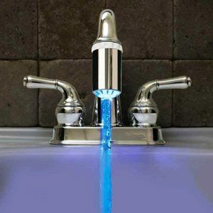 Instantly know the temperature of the water coming out of your faucet with this LED faucet nozzle attachment. Batteries not required – powered by the flow of water exiting the nozzle, hot water turns the LED red, and cold water turns the LED blue.