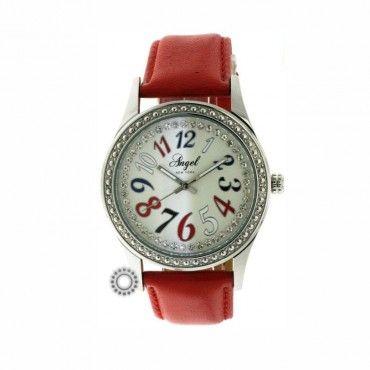 Γυναικείο μοντέρνο ρολόι quartz ANGEL με χαρούμενο χρωματιστό καντράν & κόκκινο λουρί   Οικονομικά ρολόγια ANGEL στο κατάστημα ΤΣΑΛΔΑΡΗΣ στο Χαλάνδρι #angel #κοκκινο #δερμα #γυναικειο #ρολοι