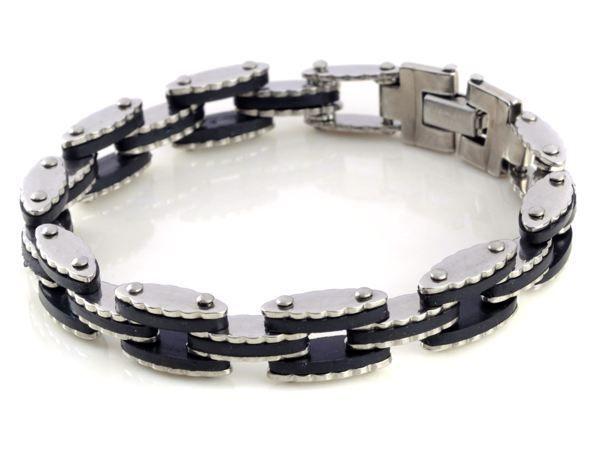 1 шт. мода мужские черные резиновые серебряный нержавеющей стали 316L браслет манжеты ссылка браслеты манжеты шарм ювелирных изделий бесплатная