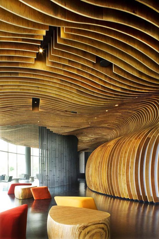 Genexis Theater, Fusionopolis in Singapore uses 400,000 timber beads that line  the internally curved walls of an ovoid space with an acoustic solution reducing the echo to a minimum. Designed by ARUP/WOHA architects, the series of photos of this amazing theatre—this one is of the front of house—are by Patrick Bingham-Hall | Image: courtesy of Woha