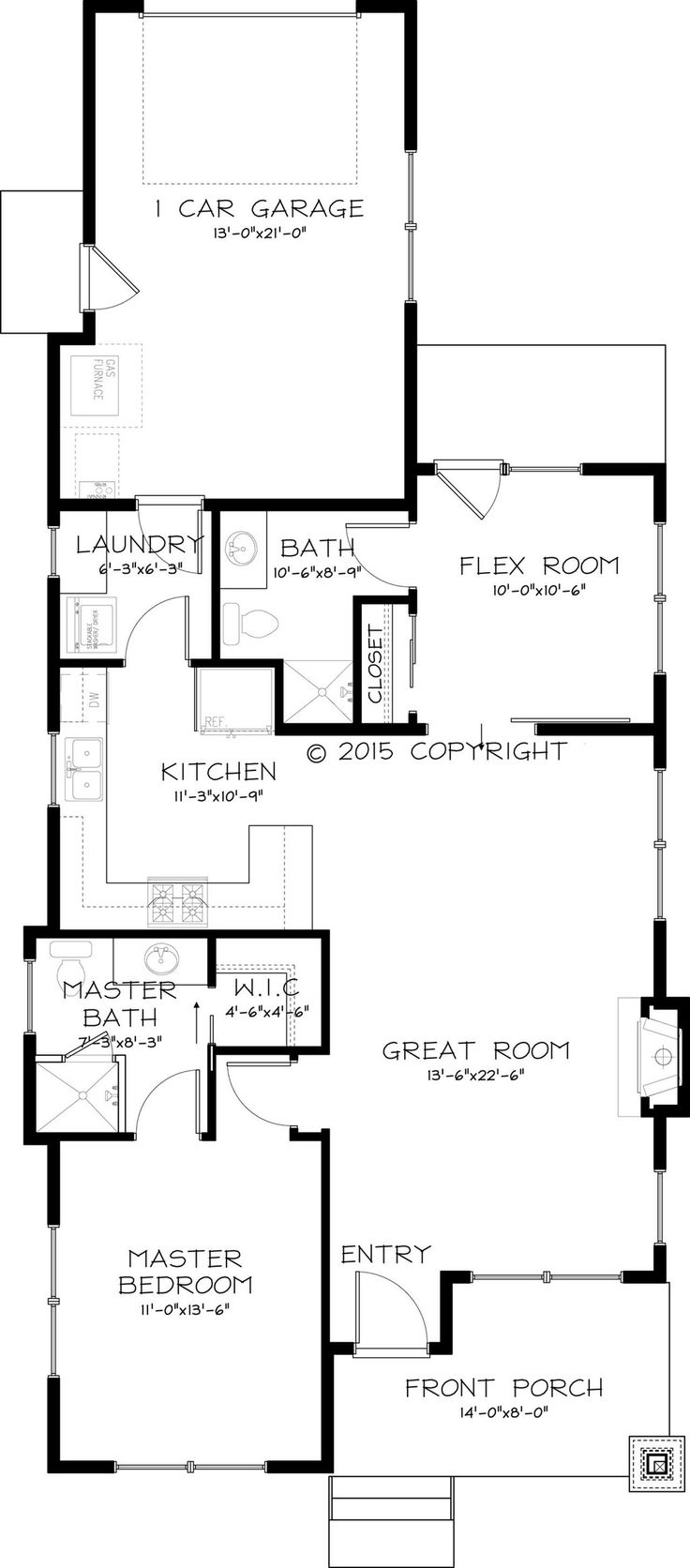 Craftsman style house plan 2 beds 2 baths 999 sqft plan 895