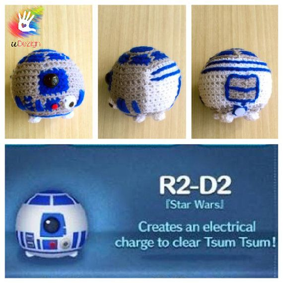 """This pattern is available only in English language. For those who love cute things, Tsum Tsum R2-D2 is at the perfect size to hold on your palm or attach on your bag to be your traveling companion. Format: PDF document of 8 pages with detailed instructions. Finished size: approx. 3"""""""