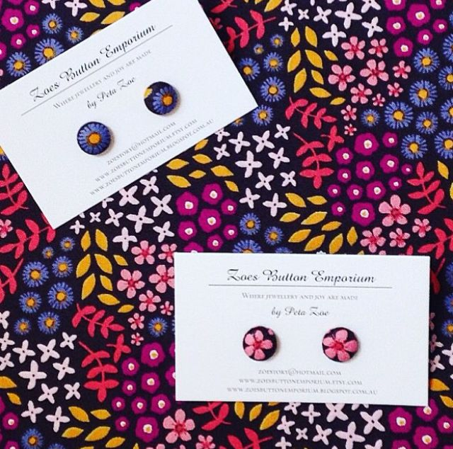 Vibrant floral stud earrings made from fabric covered buttons on hypoallergenic surgical steel earring posts. 1 pair for $7.00 by www.zoesbuttonemporium.etsy.com and available at the #etsymadelocal Markets, Canberra.