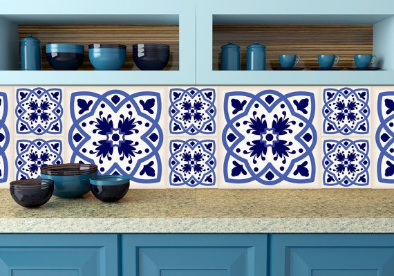 Talavera Mexican tile wall decal Set of 24 blue shades Mexican tile Kitchen decals bathroom decals Azulejos pattern tiles N11