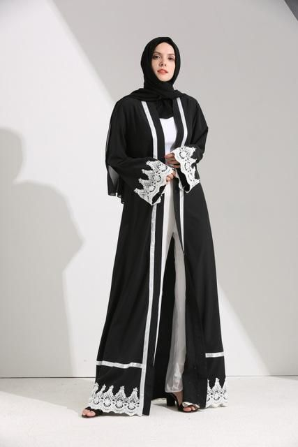 Muslim Women Maxi Dress Open Abaya Lace  4fb0c2c5bcea