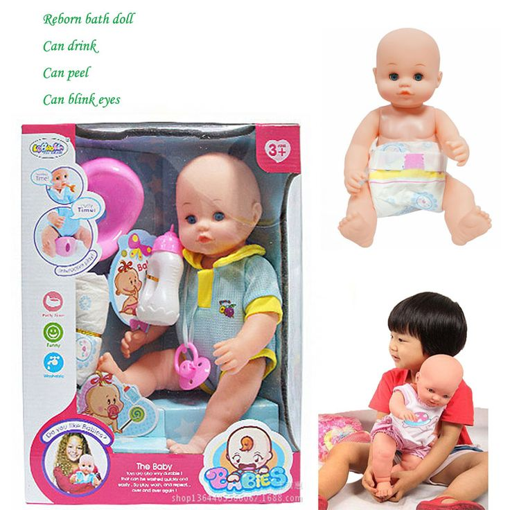 New baby born doll for girl Reborn baby 15 inch Bath wash toy blue pink Lifelike kid baby Pretend Play House toy Color gift box