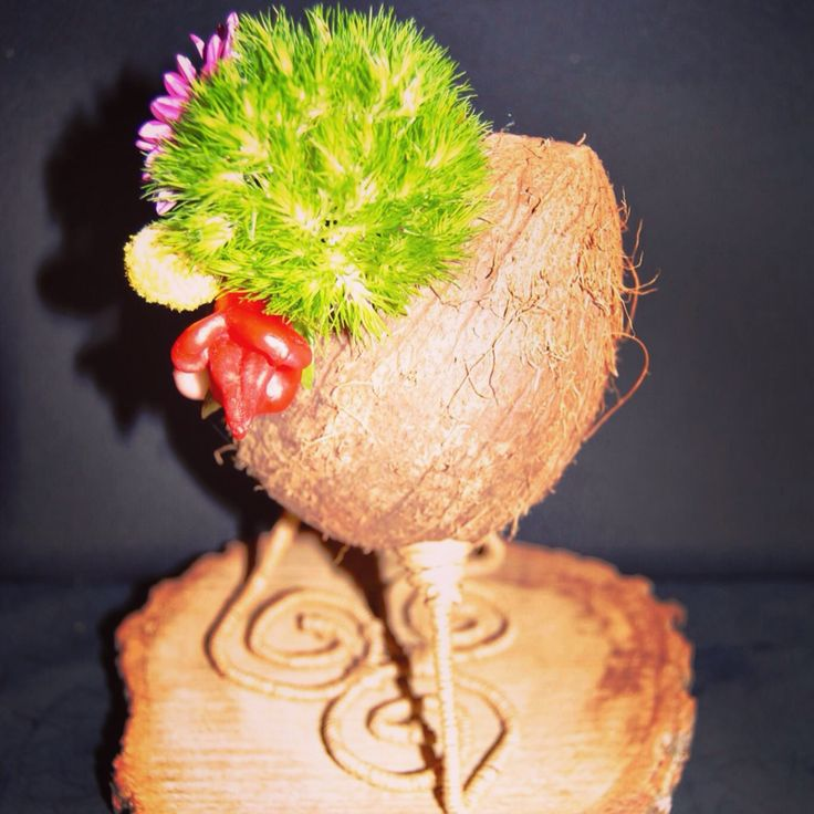 Detox and Nutrition Conference floral design with coconut by Atelier Floristic Aleksandra concept Alexandra Crisan