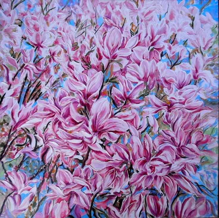 """MAGNOLIA"" pictura ulei/panza, 2017, Artist Lunic Aurora"