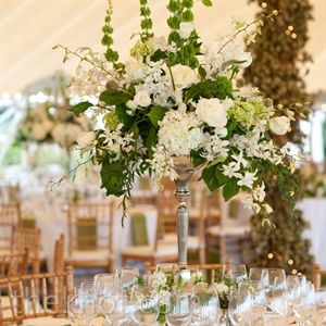White and green reception wedding flowers,  wedding decor, wedding flower centerpiece, wedding flower arrangement, add pic source on comment and we will update it. www.myfloweraffair.com can create this beautiful wedding flower look.