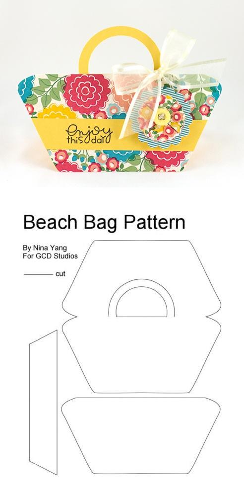 Free purse-shaped card template by Nina Yang: http://waffleflower.com/2013/04/gcd-beach-bag-shaped-card-with-free-pattern/