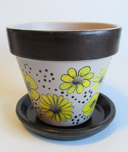 Hand-painted flower pot! Grey, Yellow and black floral design. - http://www.pinterest.com/pin/301037556315380065/