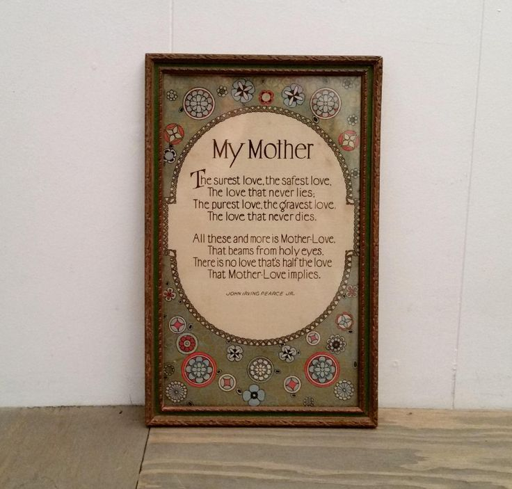 1920's Art Nouveau Framed My Mother Poem Print by John Irving Pearce Jr. by iloveyoumore on Etsy